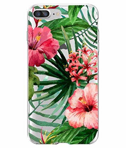 Aloha Tropical Flowers (SHARK SUMMER Aloha Tropical Floral coconut tree Bahama Leaves Ultra Slim Rubber Silicone TPU Cover for IPhone 7)