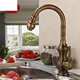 copper kitchen faucets pull out Carved antique kitchen faucet/All copper hot and cold basin kitchen sink faucet Caipen