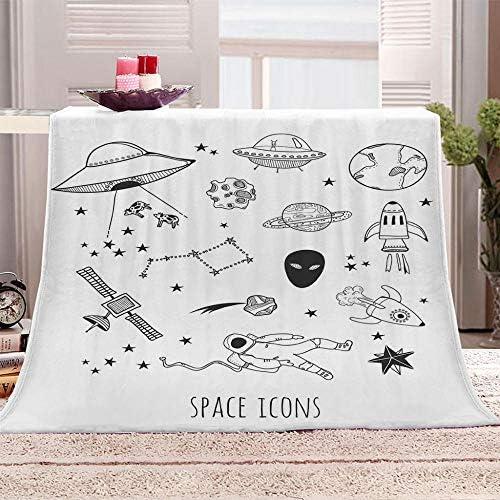 ZFSZSD Couverture Dessin animé et Extraterrestre Couvre-lit en Flanelle avec Polaire Chaude et Douce pour canapé bébé Gris 180x200cm