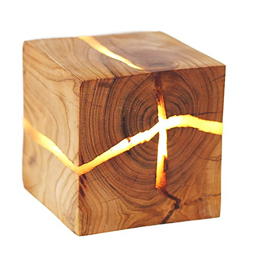 DLINMEI G4 Square Cracked Logs Free Of Perforated Wall Lamp Creative Corridor Wall Sconce Decoration Solid Wood Wall Light