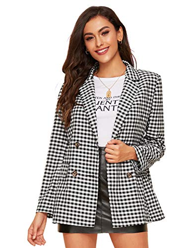 Milumia Women's Open Front Plaid Blazer Long Sleeve Gingham Jacket Outerwear