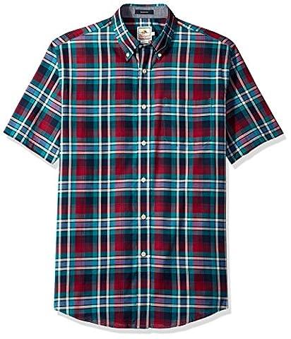 Pendleton Men's Short Sleeve Button Front Seaside Shirt, Magenta/Green Plaid, Large (Magenta Green)