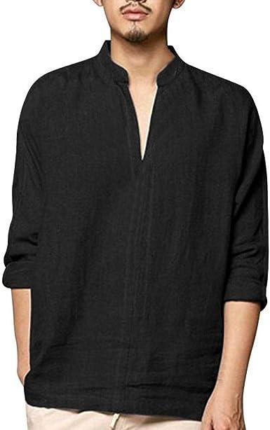 Blusa Hombre Yesmile Camiseta de Manga Larga de algodón de Lino ...