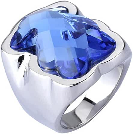 Richapex Blue Rinestone Teddy Bear Ring 18K Gold Plated and Silver Stainless Steel Women Girl Ladies