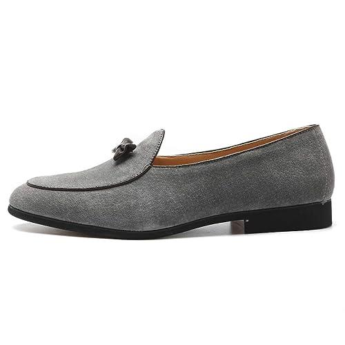 Zapatos Planos de Cuero de Gamuza Casual para Hombre Zapatos sin Cordones para el Conductor Mocasines de Vestir Zapatos: Amazon.es: Zapatos y complementos