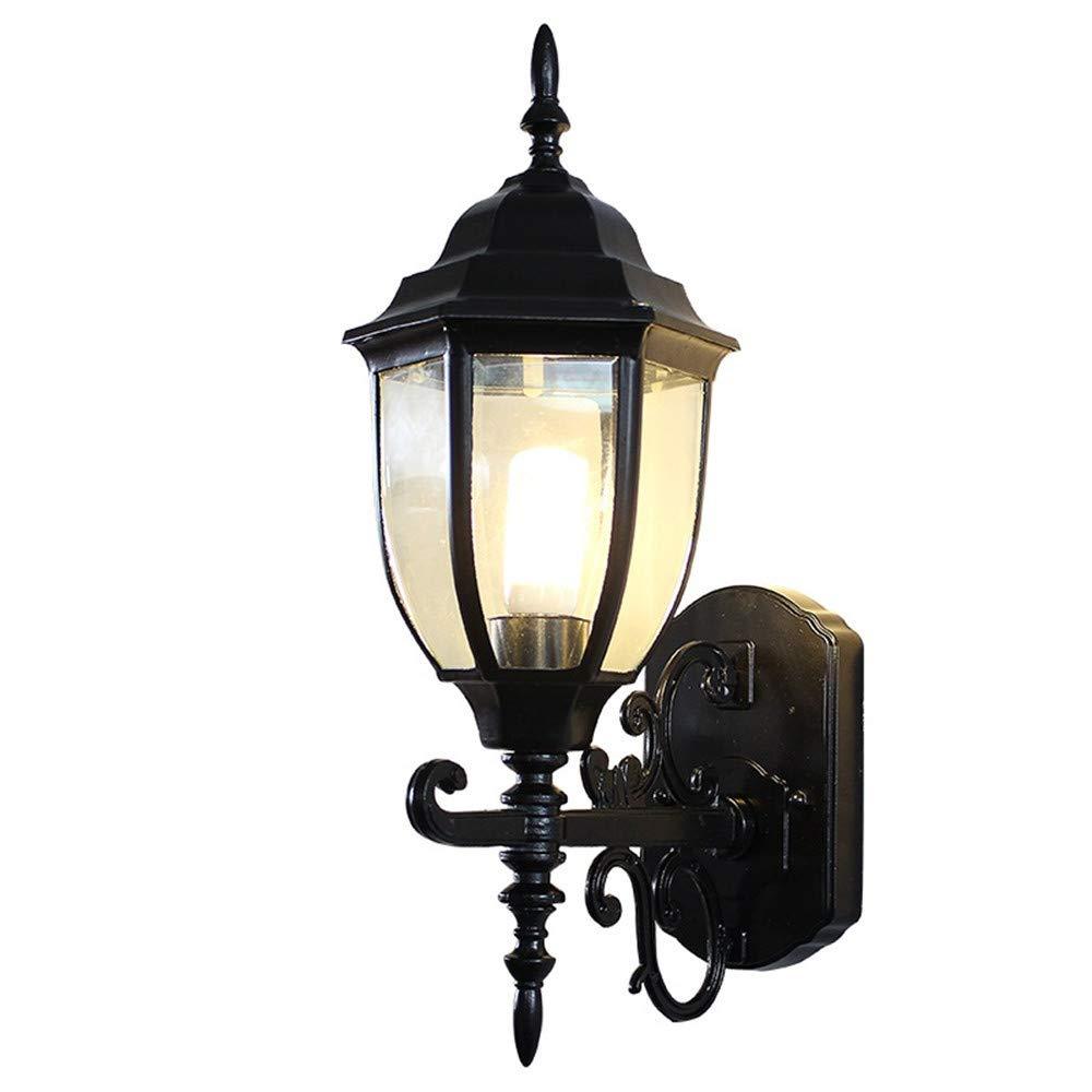 HRCxue Außenwandleuchten Im Freienwandlampenlandhaus wasserdichte doppelte Blaumenwandlampen-Ganglichtergartenlampen Retro- Wandlampe 44  23.5cm, schwarzer Rostschutz, korrosionsBesteändig