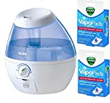 Vicks VUL520W Filter-free Cool Mist Humidifier, Mini With Two Packs of (6) Vapo Pads Bundle