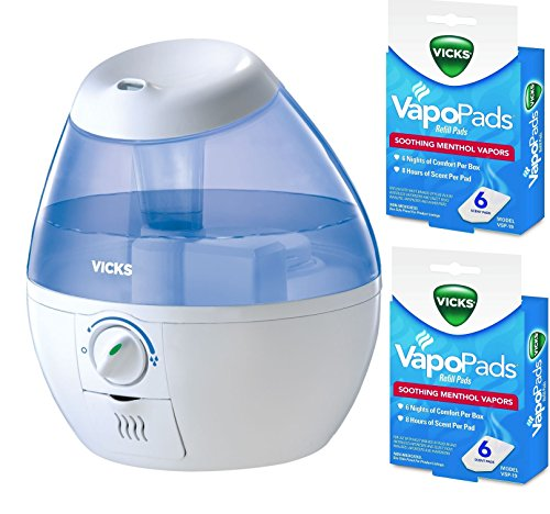 Vicks VUL520W Filter-free Cool Mist Humidifier, Mini With Two Packs of (6) Vapo Pads Bundle by Vicks