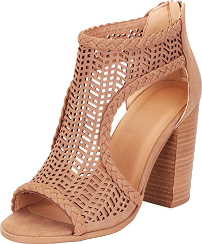 Cambridge Select Women's Open Toe Laser Cutout Caged Chunky Block High Heel Ankle Bootie,7 M US,Light Taupe Pu