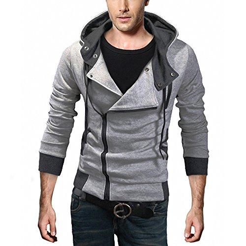 djt mens oblique zipper hoodie casual top coat slim fit