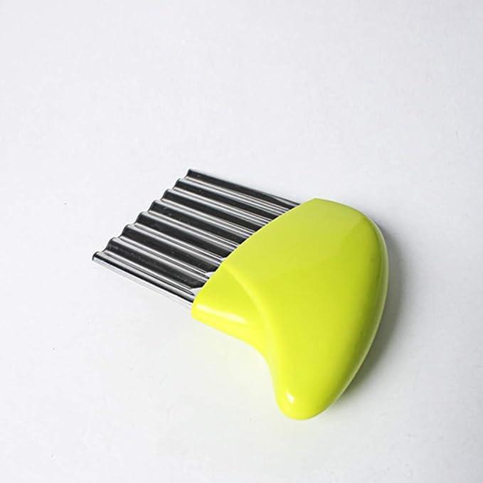 manico in polipropilene ecologico utensile multifunzionale per cucinare verdure carote Tagliapatate a onda in acciaio inox affettatrice per cipolle accessorio da cucina Taglia libera Yellow