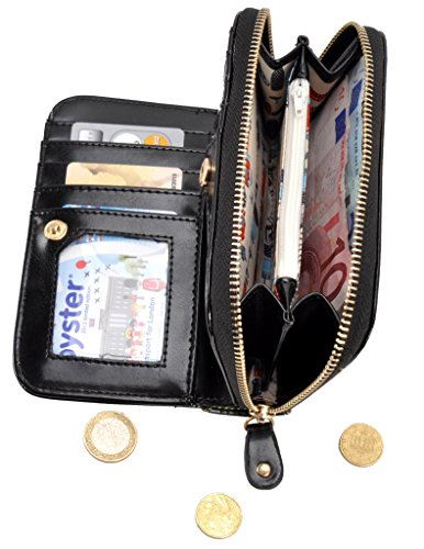 Women's Boutique London Medium Black Wallet Ziparound Vendula S58UFqnxw5