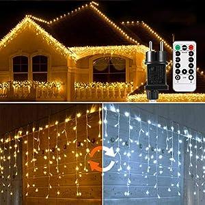 Cascata di Luci ECOWHO 440 LED Tenda Luminosa Bianco Caldo e Bianco Freddo,12x0,8m Luci di Natale 9 Modalità con telecomando, Catena Luminosa esterno per Natale patio Giardino Matrimonio 11 spesavip