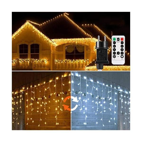 Cascata di Luci ECOWHO 440 LED Tenda Luminosa Bianco Caldo e Bianco Freddo,12x0,8m Luci di Natale 9 Modalità con telecomando, Catena Luminosa esterno per Natale patio Giardino Matrimonio 1 spesavip
