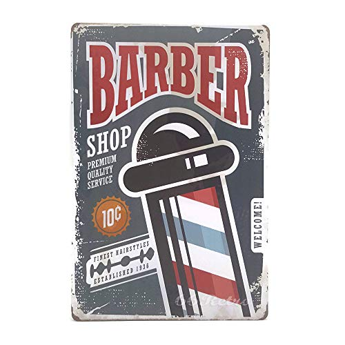 (66Retro Barber Shop, Premium Quality Service, Metal Tin Sign, Vintage Style Wall Ornament Coffee & Bar Decor, Size 8