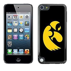 YiPhone /// Prima de resorte delgada de la cubierta del caso de Shell Armor - Cool Black Yellow Eagle - Apple iPod Touch 5