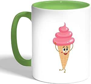 كوب سيراميك للقهوة، لون اخضر، بتصميم ايس كريم