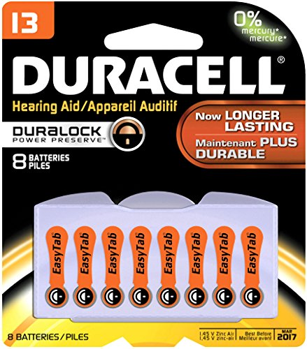 Duracell DA13B8ZM09 Easy Tab Hearing Aid Zinc Air Battery Pack, 13 Size, 1.4V, 300 mAh Capacity (Case of 6 Cards, 8 Unit per Card)
