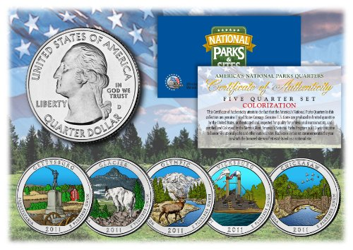 2011 America The Beautiful COLORIZED Quarters U.S. Parks 5-Coin Set w/Capsules by Merrick Mint