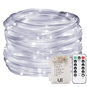 LE 33ft 120 LED Dimmable Rope Lights, Battery Powered, Waterproof, 8 Modes/Timer, Fairy Lights for Garden Patio Party Christmas Thanksgiving Outdoor Decoration (Daylight White)