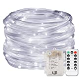LE 33ft 120 LED Dimmable Rope Lights, Battery Powered 8 Modes with Timer, Waterproof String Lights for Garden Patio Party Christmas Thanksgiving Outdoor Decoration, Daylight White