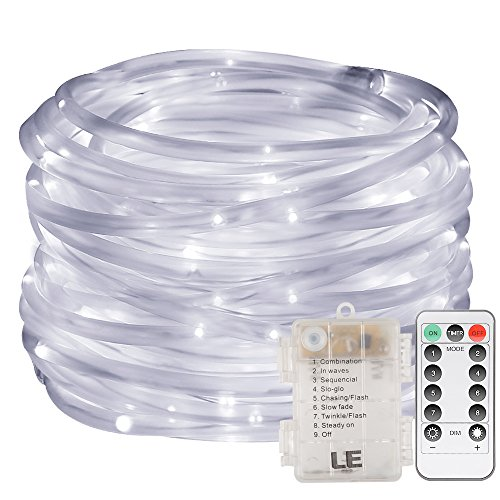 Cheap  LE 33ft 120 LED Dimmable Rope Lights, Battery Powered, Waterproof, 8 Modes/Timer,..
