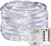 LE Rope Lights 33ft/10m 120 LEDs Dimmable Waterproof 8 Modes Battery Powered Garden Patio Party Christmas Outdoor Decoration