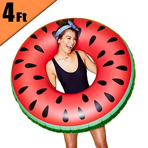 Inflatable Pool Float Gigantic Watermelon Swimming Ring   Fun Adults or Kids Swim Party Toy - 4-Foot -