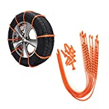 TSJ Snow Tire Chains, Adjustable Zip-tie Anti-Skid Chains for CarsxFF0C;SUV, 10-Piece Stripes