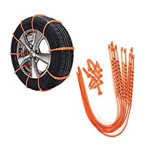 TSJ Snow Tire Chains, Adjustable Zip-tie Anti-skid Chains for Cars,SUV, 10-Piece Stripes