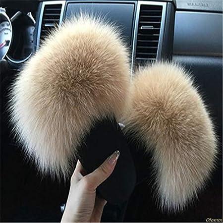 Womens Furry Slippers Ladies Cute Plush Fox Hair Fluffy Slippers Womens Fur Slippers,Fox hair1,6.5