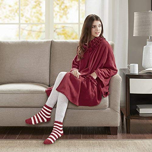Comfort Spaces - Stylish Soft Microfleece Poncho Angel Wrap with Matched Sock Set - Travel Blanket - (One Size fits Most)- Red