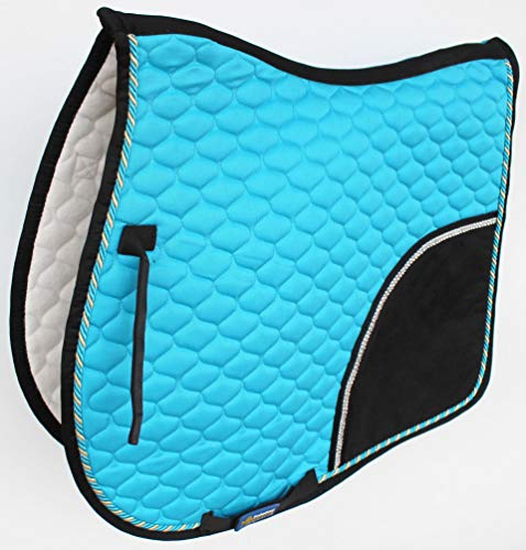 St. Charles Horse All Purpose Cotton Quilted English Saddle PAD Trail Turquoise Black ()