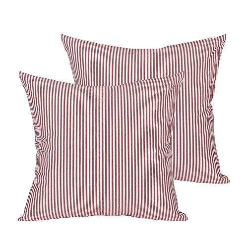 (Shamrockers Farmhouse Striped Throw Pillow Cover Decorative Cotton Linen Ticking Stripe Cushion Pillowcase (18