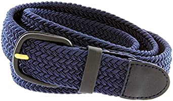 "Belts.com Leather Covered Buckle Woven Elastic Stretch Belt, Navy, (4XL(50-56"")"