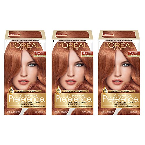 L'Oréal Paris Superior Preference Fade-Defying + Shine Permanent Hair Color, 7LA Lightest Auburn, 3 COUNT Hair Dye