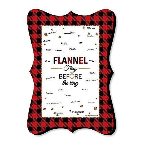 Big Dot of Happiness Flannel Fling Before The Ring - Unique Alternative Guest Book - Buffalo Plaid Bachelorette Party Signature Mat by Big Dot of Happiness