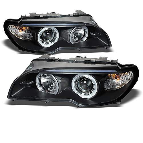 Headlight Left Door - Xtune 2003-2006 E46 3-Series 2-Door Black Halo Projector Headlights Front Lamps Pair Left+Right 2004 2005