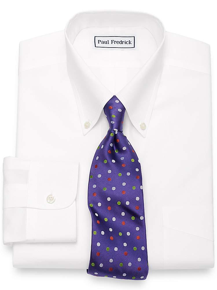 Paul Fredrick Men's Non-Iron Supima Cotton Button Down Collar Dress Shirt White 22.0/37