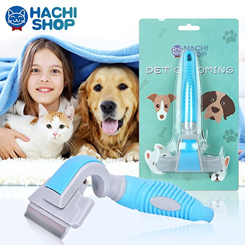 (HACHI SHOP Dog Shedding Brush Pet Grooming Deshedding Brushes Hair Remover Tool for Small Medium Cats Dogs with Short Medium Long Hair)