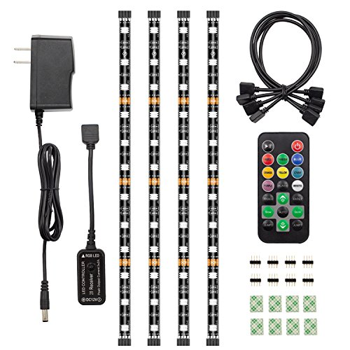 HitLights UL-Listed LED Light Strip Accent Kit, 4 x Pre-Cut 12 Inch RGB LED Strips - Includes Remote, Power Supply and Connectors for Under Cabinet, Kitchen, TV Lights (Included Downlight Kit)