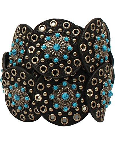 Nocona Women's Wide Floral Discs Belt, Black, L by Nocona Boots