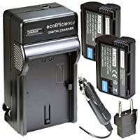 ecoEfficiency 2-Pack of EN-EL15 Batteries and Battery Charger Kit for Nikon D7500 Digital SLR Camera