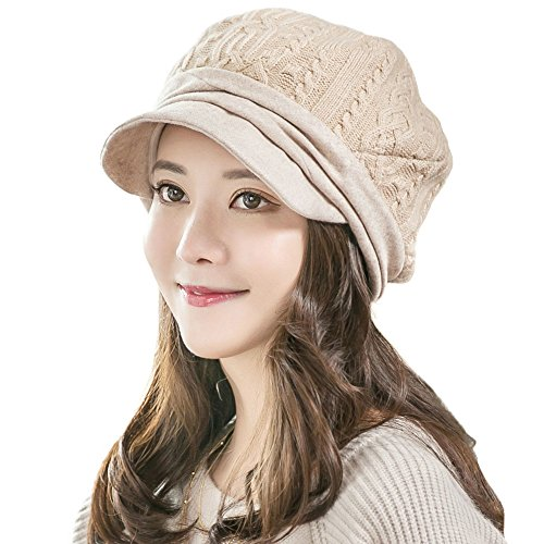 Siggi Womens Wool Blend Newsboy Cabbie Caps Beige Winter Knited Beanie Hat Visor
