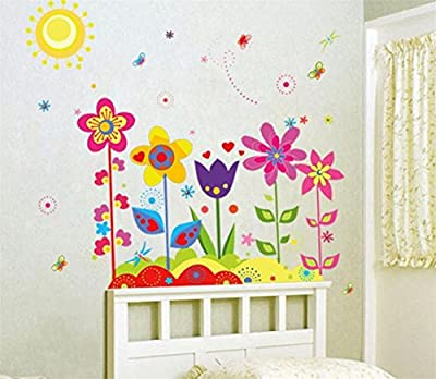 Heyuni. Wall Sticker Flower Butterfly Removable Vinyl Decal Art For Kids Home Living Room House Bedroom Bathroom Kitchen Office Home Decoration