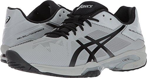 ASICS Mens Gel-Solution Speed 3 Sneaker, Mid Grey/Black, Size 13