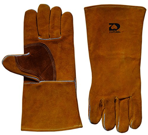 ZaoProteks ZP1709 Cowhide Leather Heat Resistant Welding Gloves,Work Gloves - Large ---For Welding / Gardening / Camping / Fireplace / Hearth / Stove / Barbecue and so on (Golden Yellow) by ZaoProteks
