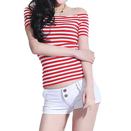 Women's Short Sleeve Vogue Fitted Off Shoulder Modal Blouse Top T-Shirt (XX-Large, Red Stripe) ()