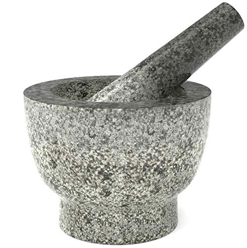 Ebuns Granite Mortar and Pestle Set - 6 Inch, 2 Cup Natural Heavy Unpolished Molcajete Stone - With Anti-Scratch Felt - Made for a lifetime