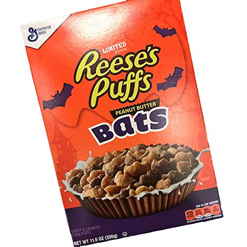 Reese's Puffs Limited Edition Halloween Cereal Peanut Butter Bats! 11.5 Oz Box 120 Calories! Sweet & Crunchy Corn Puffs! Every Day Can Be Halloween! Start Your Morning -